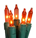 Set of 100 Super Bright Orange Mini Christmas Lights - Green Wire