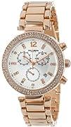 Akribos XXIV Womens AK529RG Rose Gold-Tone Crystal-Accented Watch