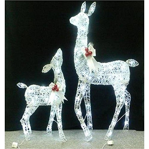 Set of 2 yard or lawn lighted white grapevine deer for Amazon christmas lawn decorations