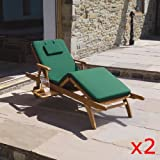 Pair of Cushions for Garden / Patio Amalfi Sun Lounger Chair Bed in Dark Green, Blue or Red Dark Green