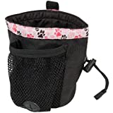 RC Pet Products Dog Snack Caddie, Black with Pitter Patter Pink Pattern