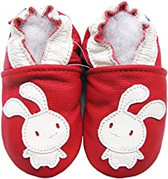 Carozoo Unisex soft sole leather infant toddler Children shoes Bunny Red 2-3y