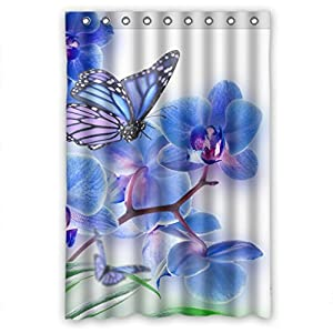 Tinge Purple Flowers And Butterfly Shower Curtain Measure 48 W X72 H