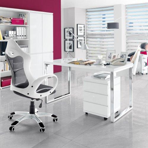 Schreibtisch holz metall wei hochglanz lackiert b rotisch for Schreibtisch lackieren