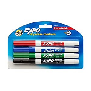 Expo Low-Odor Dry Erase Markers, Fine Point, 4-Pack, Assorted Colors