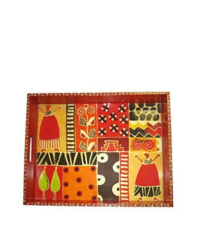 Asian Loft South African Wooden Life Celebration Tray, Multi