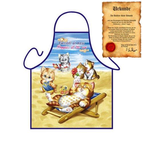 liebes Katzen Motiv: verspielte Kätzchen - Fun - Schürze für Kinder one Size Fb bunt mit GRATIS Geschenk-Urkunde : )