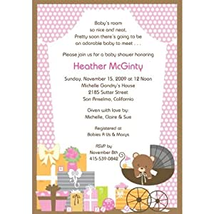 baby 39 s room girl baby shower invitations set of 20