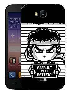 """Humor Gang Funny Fighter Cartoon Printed Designer Mobile Back Cover For """"Huawei Honor Bee"""" (3D, Matte, Premium Quality Snap On Case)"""