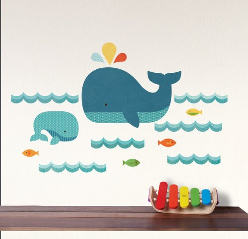 Petit Collage Fabric Wall Decal, Whale Ocean (Discontinued by Manufacturer)