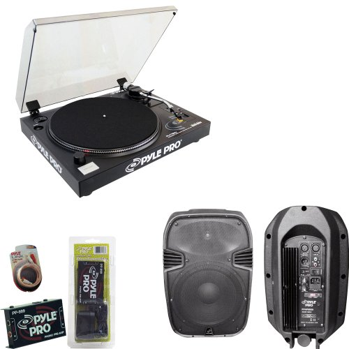 Pyle Turntable Record Player, Pre-Amplifier, Rca Cable And Speaker Package - Plttb3U Belt Drive Usb Turntable With Digital Recording Software - Pp999 Phono Turntable Pre-Amplifier - Pphp885A 400 Watts 8'' Powered 2 Way Plastic Molded Speaker System - Plrc