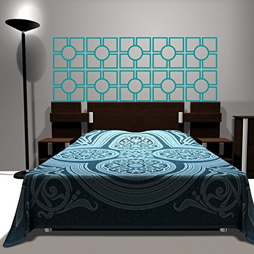 Wall Decal Geometric Headboard Dorm Decor Circle Shape Pattern Squares (Teal, Full) front-1058830