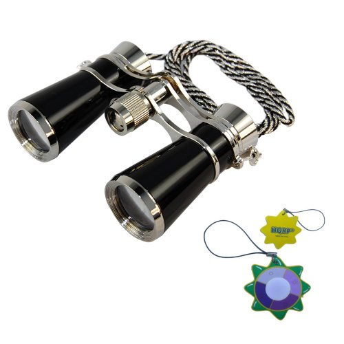 Hqrp High Magnification Ultra Compact Light 7X25 Theater Binoculars In Elegant Black Pearl With Silver Trim And Silver / Black Necklace Chain Plus Hqrp Uv Meter