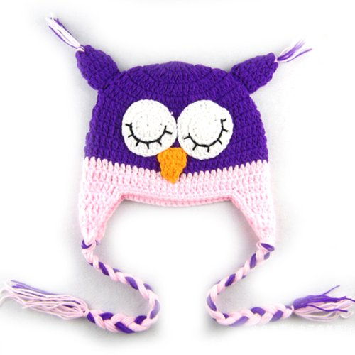 Chineon Cute Owl Knitting Wool Baby Toddler Hat Cap Photography Prop(Purple-Pink) front-372257