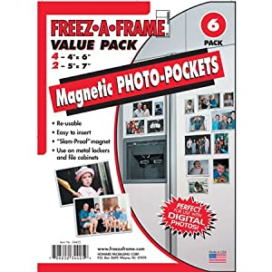 "Freez-A-Frame Magnetic Combo Pack with 4 - 4"" x 6"" & 2 - 5"" x 7"" Magnetic Photo Frames"