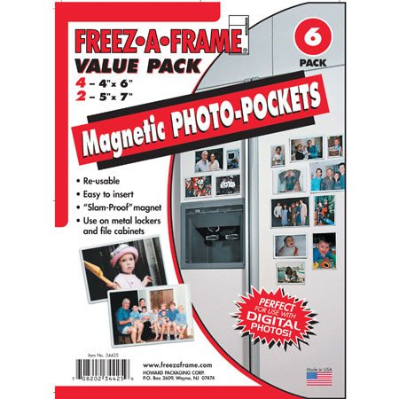 Freez-A-Frame Magnetic Combo Pack with 4 – 4″ x 6″ & 2 – 5″ x 7″ Magnetic Photo Frames – Magnetic Picture Frames For Refrigerator