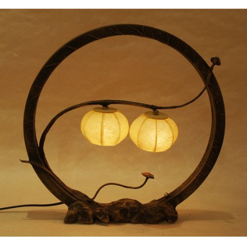 Mulberry Rice Paper Ball Handmade Flower Ring Design Art Shade Yellow Red Round Globe Two Lantern Brown Asian Oriental Decorative Accent Chic Modern Bedside Bedroom Table Lamp