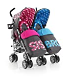 Cosatto Supa Dupa Twin Stroller Special Edition (Sis & Bro Three)