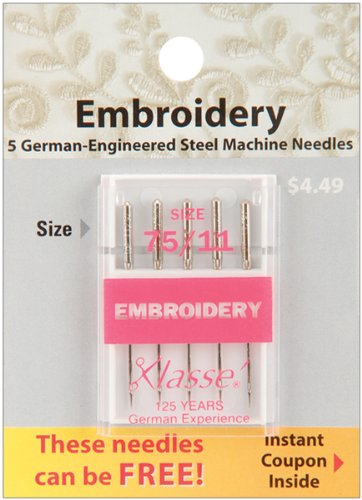 Buy Discount Tacony Corporation Klasse Embroidery Machine Needles-75/11 5/Pkg
