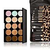 Chinatera Cosmetics Professional 15 Colors Contour Face Cream Concealer Camouflage Makeup Palette Set + 12Pcs Makeup Brush Set with Leopard Tools Make Up Case