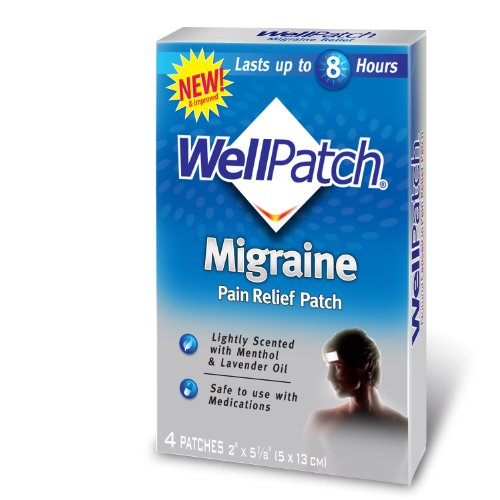 WellPatch Cooling Headache Pads, Migraine, 4 - 2 x 5 1/8-Inch Pads (Pack of 6)