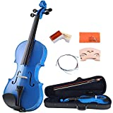 ADM 4/4 Full Size Handcrafted Solid Wood Student Acoustic Violin Starter Kit(with Violin Hard Case, Bow, Extra Strings, Rosin, Bridges, Polishing Cloth), Popular Violin Package for Beginners, Blue
