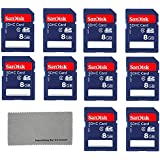 SanDisk 8 GB Class 4 SD Flash Memory Card - 10 Pack With Everything But Stromboli (tm) MicroFiber Cleaning Cloth