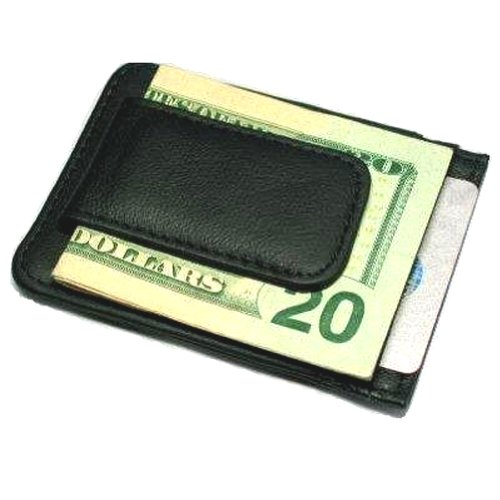 Printed grain cow hide leather money clip with magnet Picture