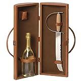 Renoir - Borsa color tabacco porta 1 bottiglia con sciabola e tappo spumante
