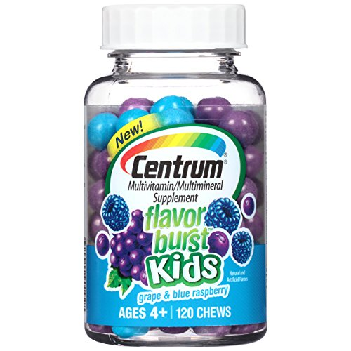 Centrum Kids Flavor Burst Multivitamin/Multimineral Supplement (Grape & Blue Raspberry Flavor, 120-Count Chews) (Grape Fruit Picker compare prices)