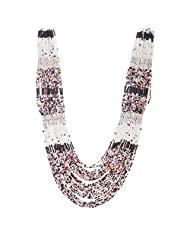 The Fine World Pine And Brass Multi Colour With White Necklace For Women
