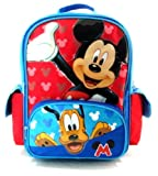 Mickey & Pluto Backpack | 16in Large School Bag | @ Sunset Jungle