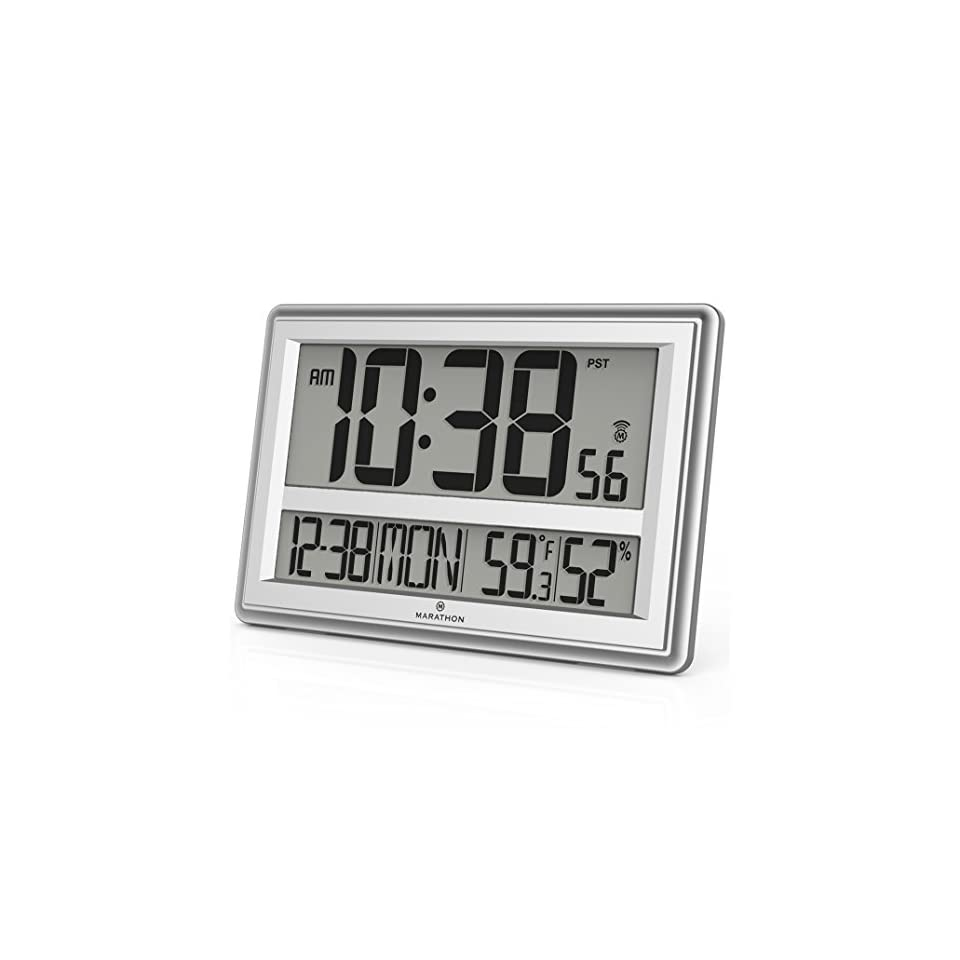 MARATHON CL030056SV Jumbo Atomic Wall Clock with Table Stand - Batteries Included