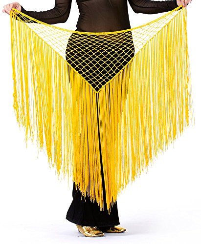 DQdq Women's Tassel Net Belly Dance Hip Wrap Scarf