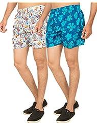 Truccer Basics Mens Printed Cotton Boxers Pack Of 2 - B017B755V8