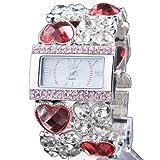 Yesurprise Fashion Luxury Women Diamond Crystal Analog Bungle Wedding Bracelet Watch Red Crystal Silver Face