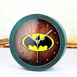 Alrens_DIY(TM) Classic Metal Rivet Batman 3D Wood Pattern Silent Non-ticking Desk Wall Clock Vintage Alarm Clocks Table Clock Desk Clocks (Green)