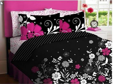 Full Flowered Pink Black White Comforter Sheet Bed-In-A-Bag Girls Kids Teens