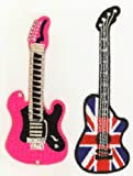 Guitar Motifs Ironsewglue on embroidery patches union jack guitar pink guitar x 2 assorted