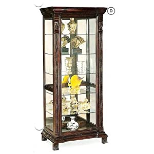 Coaster Glass Shelves Curio China Cabinet, Cappuccino Wood Finish