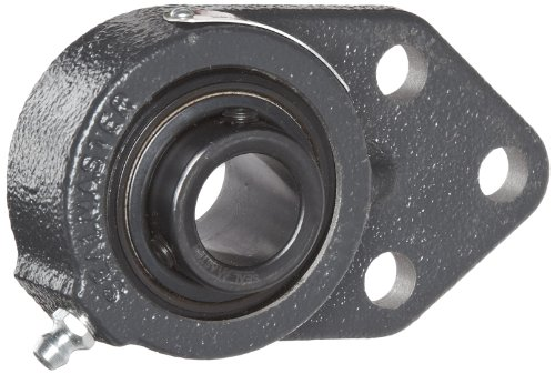 "Sealmaster FB-205 Standard Duty Flange Bracket, 3 Bolt, Regreasable, Felt Seals, Setscrew Locking Collar, Cast Iron Housing, 25mm Bore, 4-3/4"" Overall Length, 3/8"" Flange Height, ±2 Degrees Misalignme"