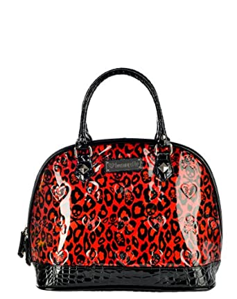 Red Leopard Skull Patent Embossed Studded Tote Bag Purse Vegan
