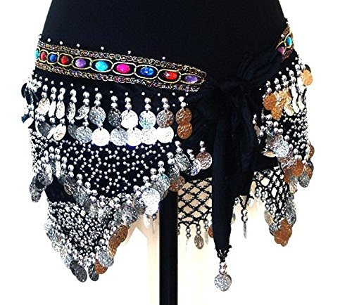 Professional Belly Dance Beaded Coins Velvet Hip Scarf Belt -- BLACK