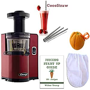Slow Juicer Almond Milk : Amazon.com: Omega vSJ843QR Pack4 vERT Slow Juicer, Square version, Red + Accessory Pack! - Nut ...