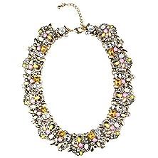 buy Girl Era Colorful Rhinestone Crystal Gem Flower Necklace Collar Bib For Women(P)