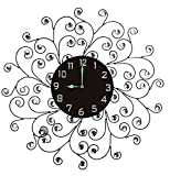 Lulu Decor Creeper Wall Clock, Decorative Metal Wall Clock with Accents, Black Glow in the Dark Arabic Dial, Glass Dial 9.50 , Clock Diameter 25 , Perfect for Housewarming Gift (Black Dial)