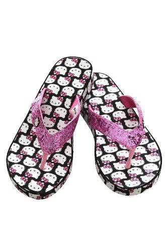 Cheap Hello Kitty Pink And Black Glitter Platform Flip Flops (B004ZTI3QK)