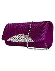 Vangoddy Anna Diamond Lady Clutch Wallet With Detachable Chain Shoulder Strap (Purple)