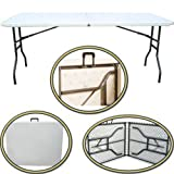 2 X 1.8M 6 FT FEET TRESTLE FOLDING TABLE FORDABLE CAMPING PICNIC PARTY 2 GARDEN TABLES