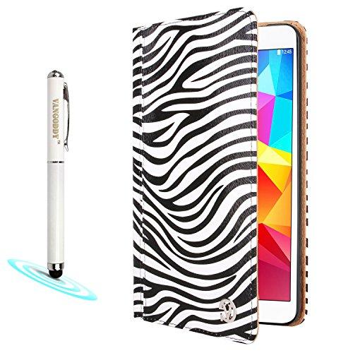 Vangoddy Mary Portfolio Wild Black White Zebra Multi Purpose Book Style Slim Flip Cover Case For Samsung Galaxy Tab 4 8.0' Android + 3-In-1 Soft Stylus Pen Led Light & Red Laser